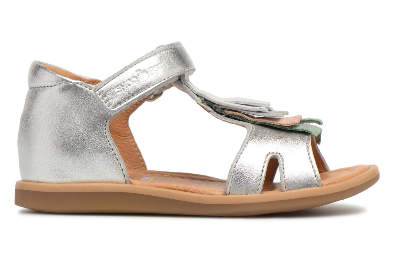 Sandals Shoo Pom Tity Fringe Silver back view