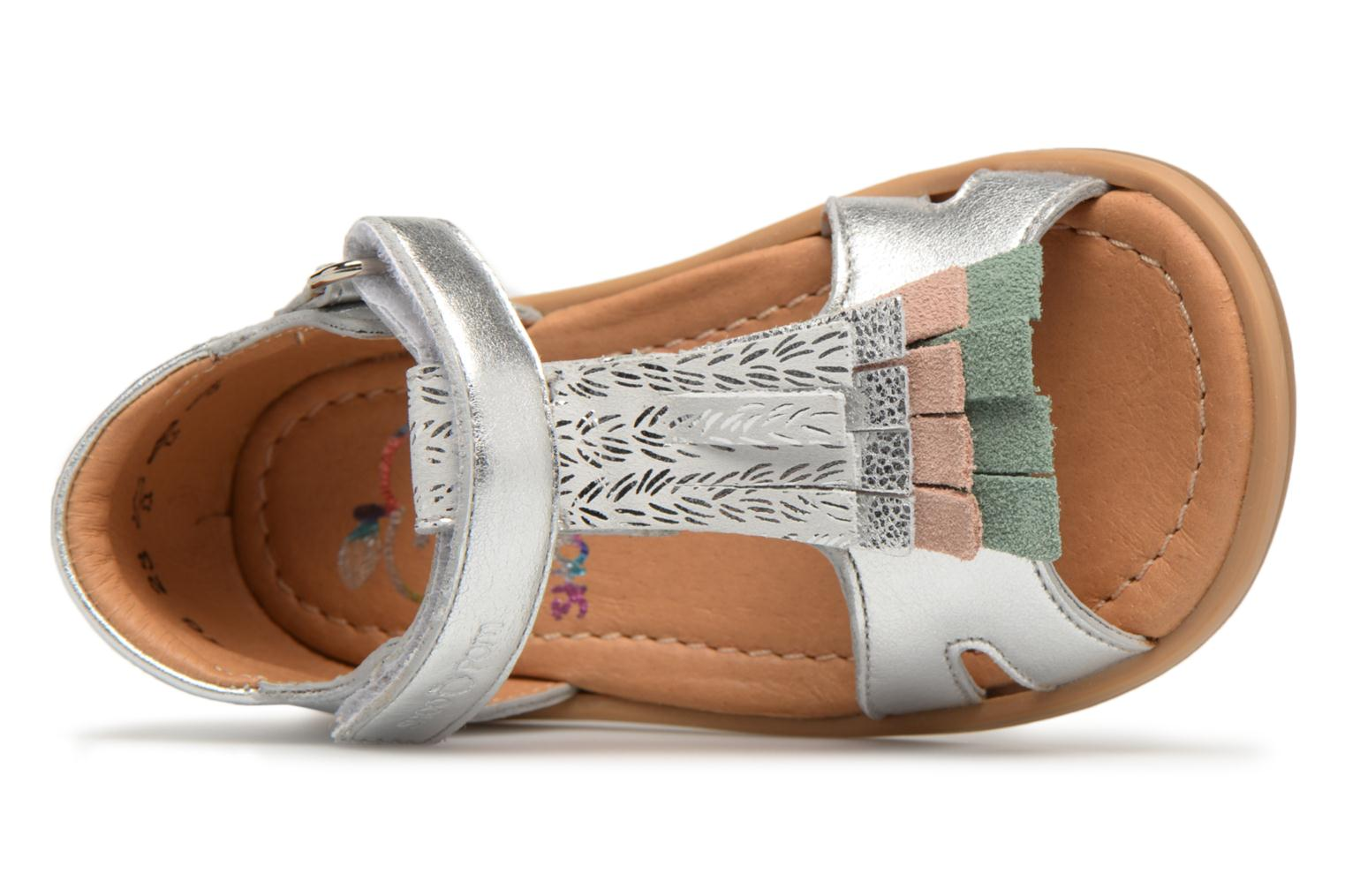 Sandals Shoo Pom Tity Fringe Silver view from the left