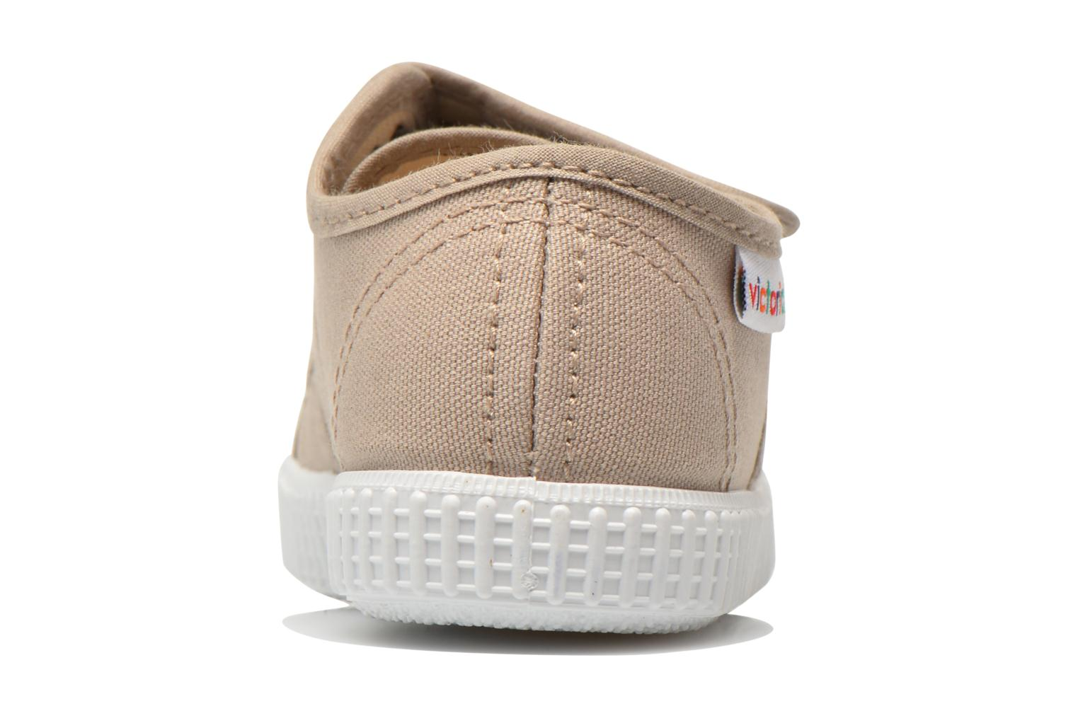 Trainers Victoria Basket lona Dos Velcos Beige view from the right