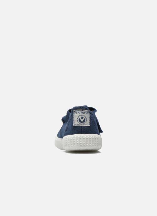 Baskets Victoria Sandalia Lona Tintada Velcr Bleu vue droite