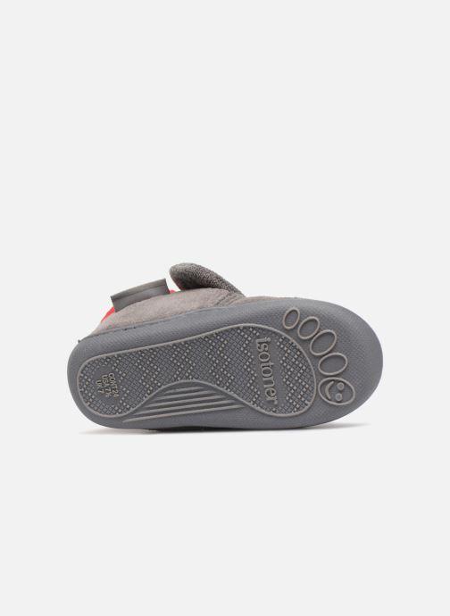 Pantoffels Isotoner Botillon Velcro Micro Éponge Grijs boven