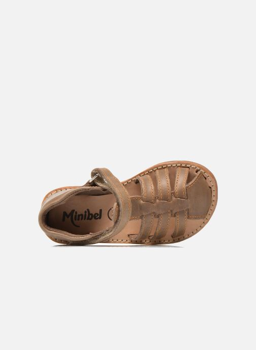 Sandals Minibel Keou Brown view from the left