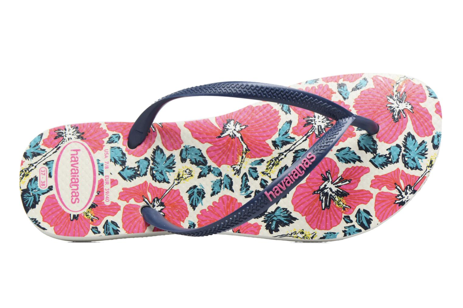 Flip flops Havaianas Slim Floral White view from the left