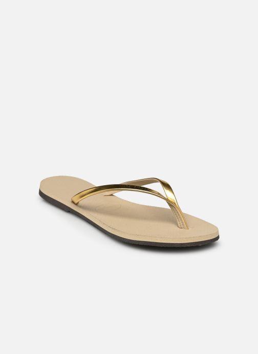 Tongs Havaianas You Metallic Or et bronze vue portées chaussures