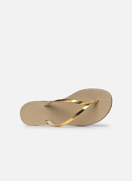 Chanclas Havaianas You Metallic Oro y bronce vista lateral izquierda