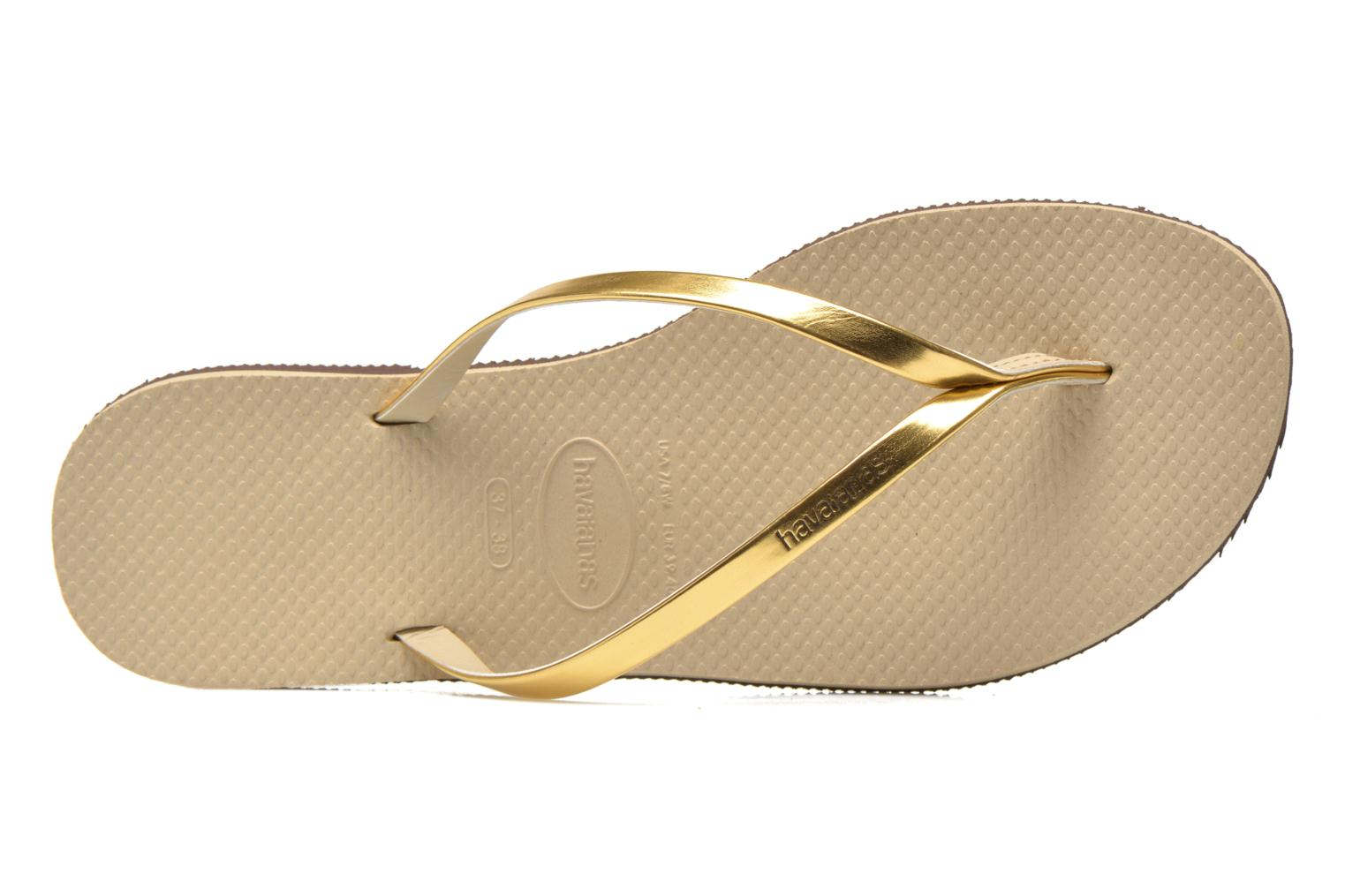 Tongs Havaianas You Metallic Or et bronze vue gauche