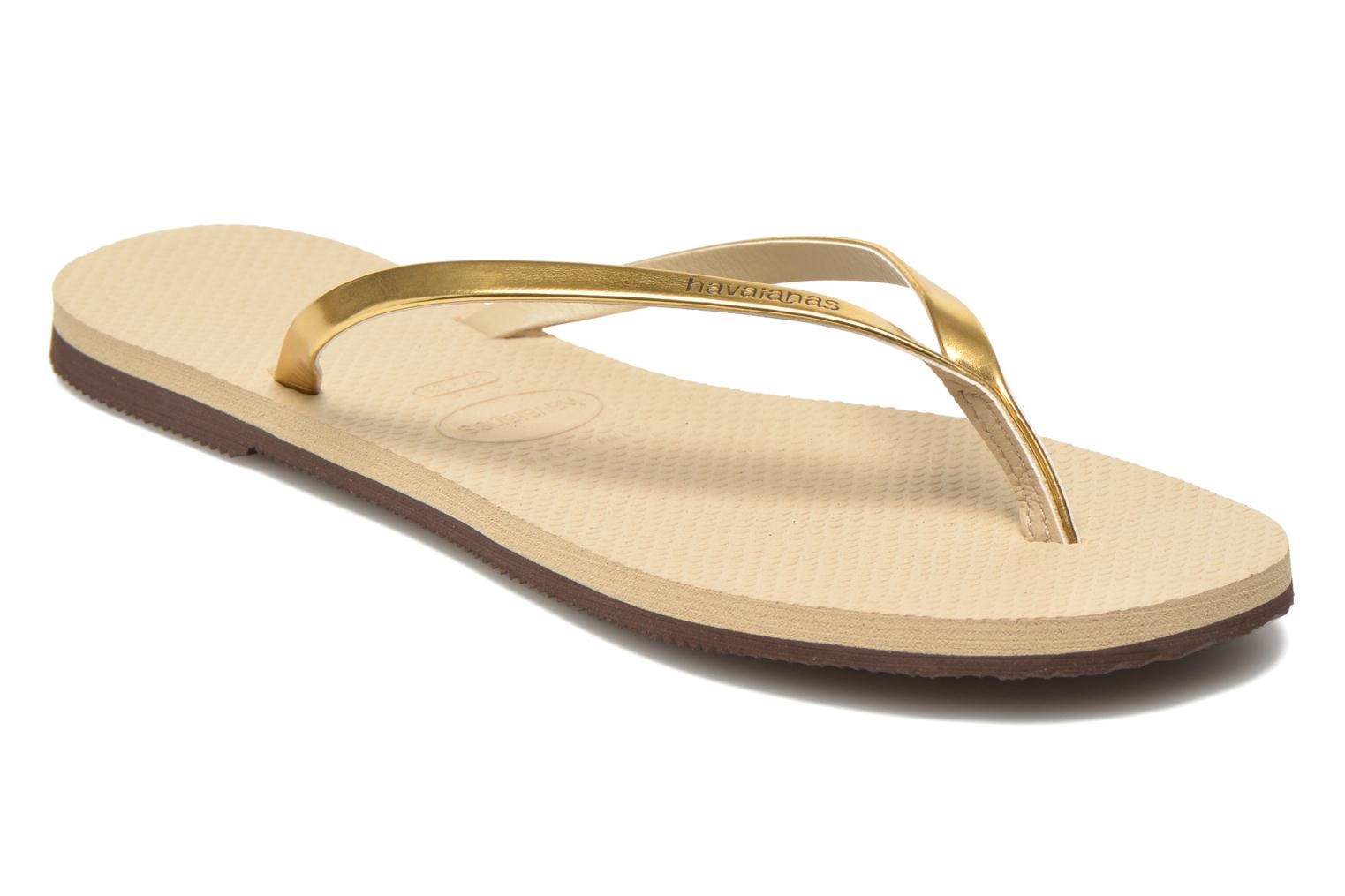 Tongs Havaianas You Metallic Or et bronze vue détail/paire