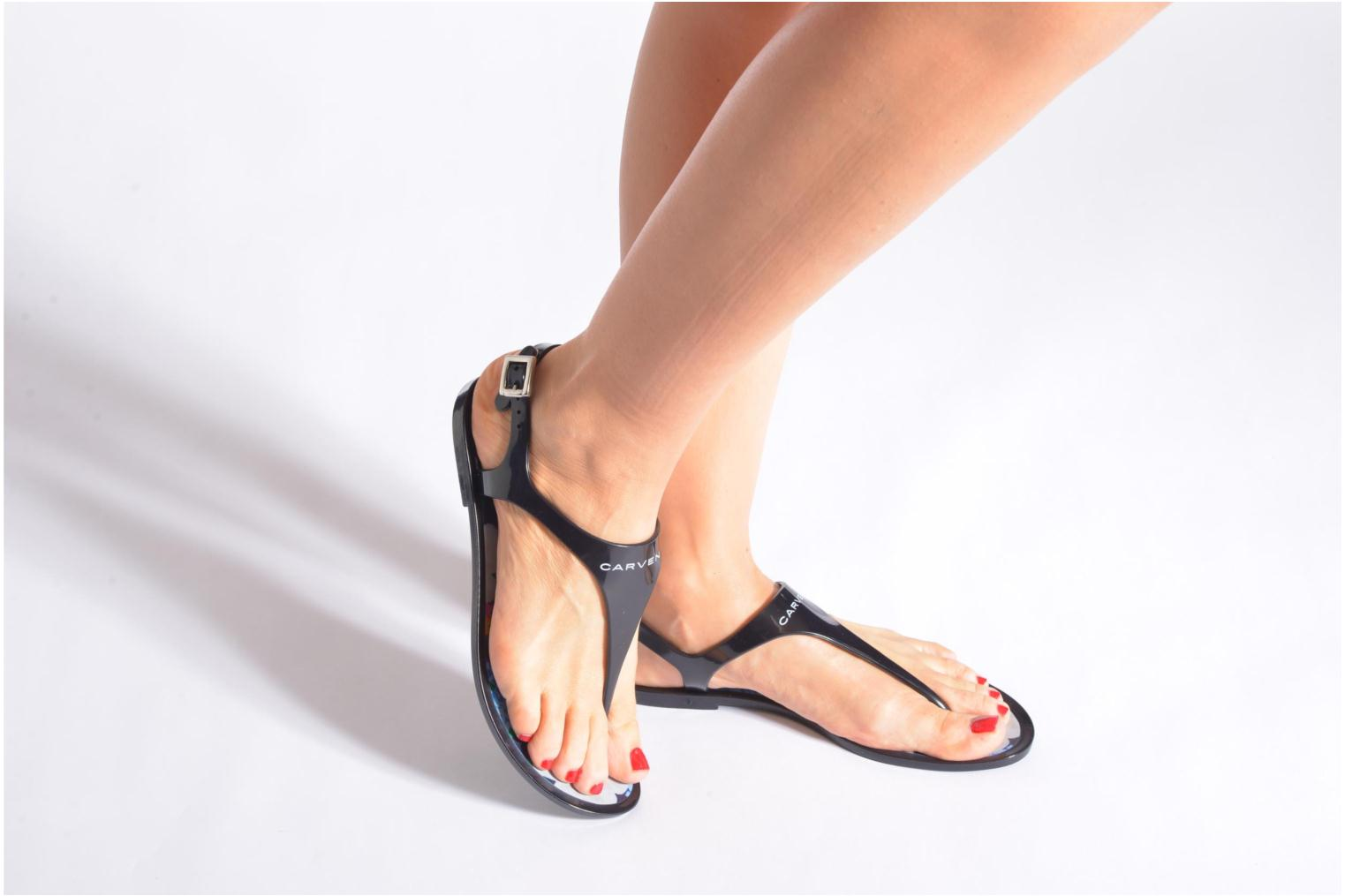 Sandals Carven Manta Black view from underneath / model view