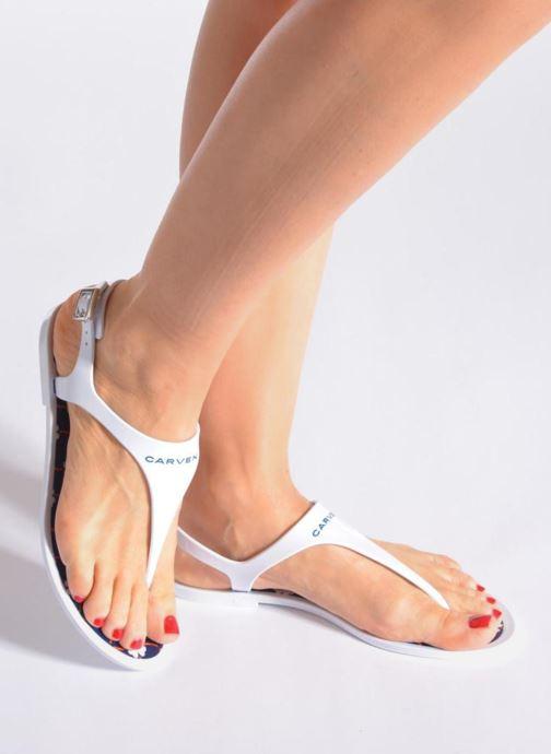Sandales et nu-pieds Carven Loja Blanc vue bas / vue portée sac