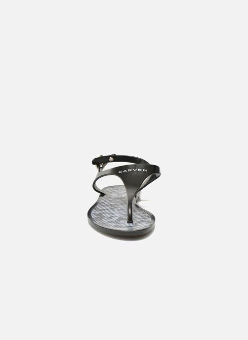 Tongs Carven Zamora Noir vue portées chaussures