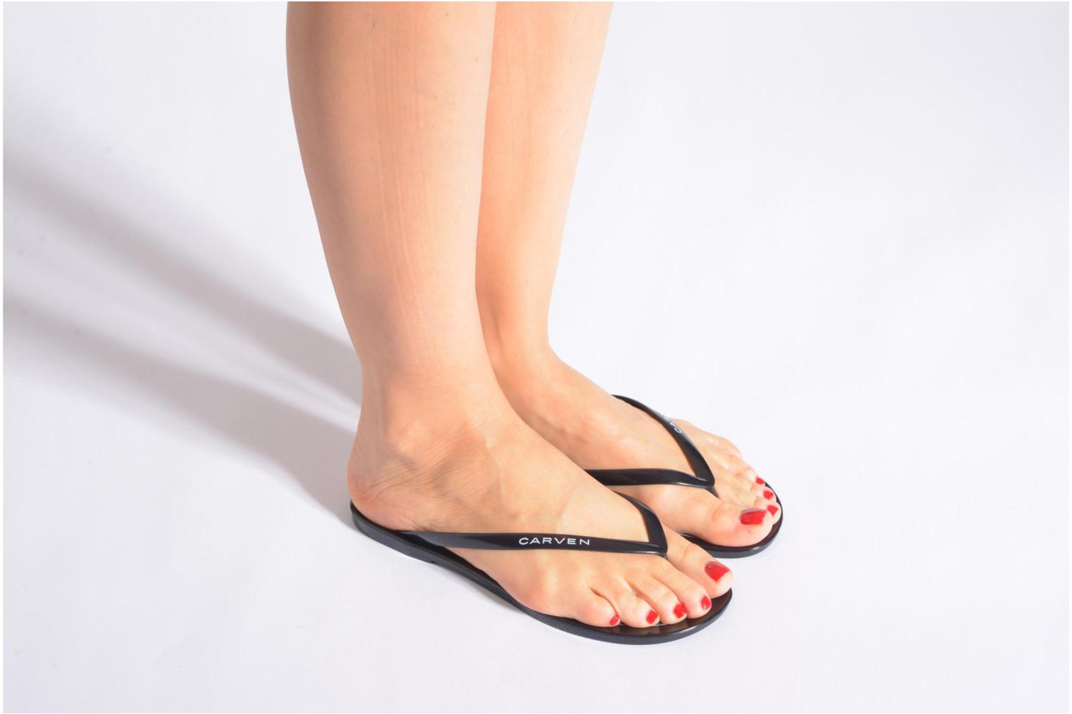 Flip flops Carven Zamora Black view from underneath / model view