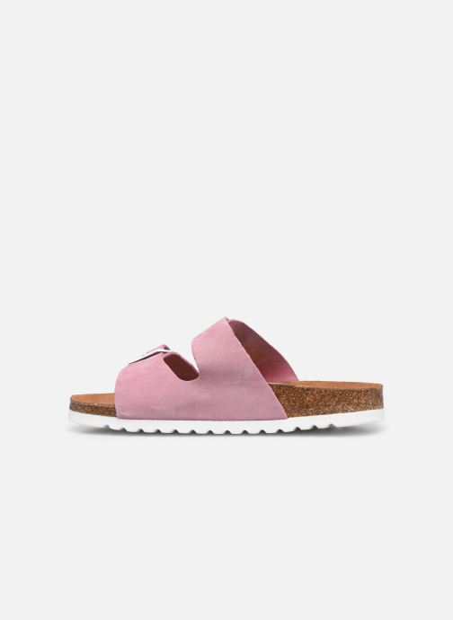Zuecos Vero Moda Julia Leather Sandal Violeta      vista de frente