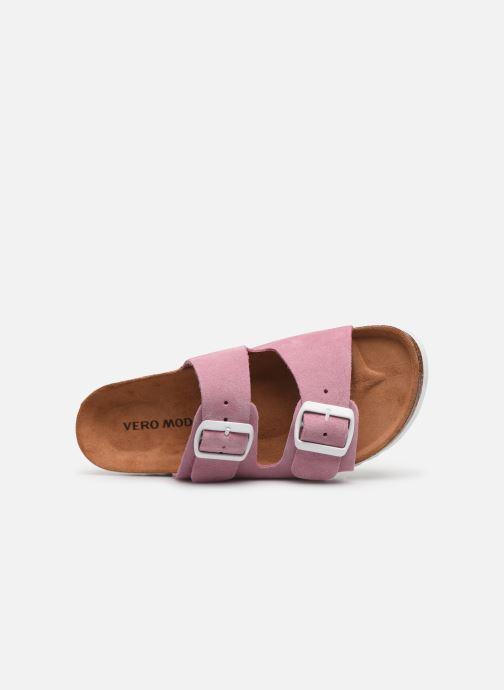 Zuecos Vero Moda Julia Leather Sandal Violeta      vista lateral izquierda