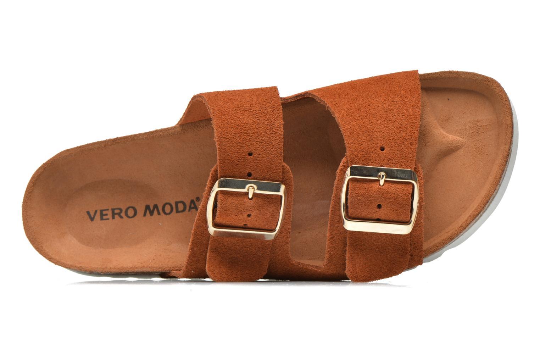 Zuecos Vero Moda Julia Leather Sandal Marrón vista lateral izquierda