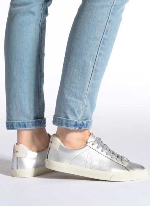 Trainers Veja Esplar Leather Silver view from underneath / model view