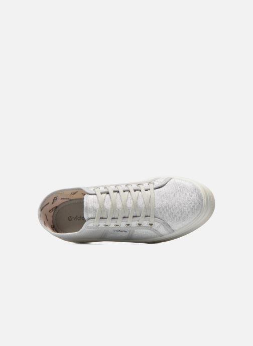 Sneakers Victoria Basket Tejido Lurex Argento immagine sinistra