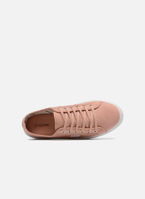 Sneaker Victoria Basket Lona Plataforma rosa ansicht von links