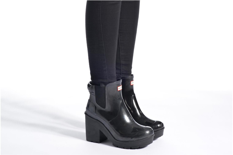 Bottines et boots Hunter Original Block Heel Chelsea Gloss Noir vue bas / vue portée sac
