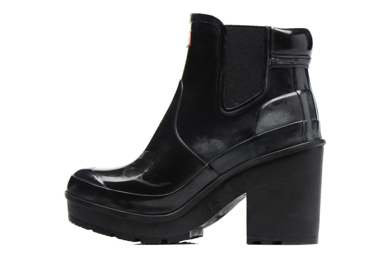 Bottines et boots Hunter Original Block Heel Chelsea Gloss Noir vue face