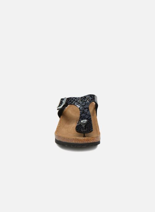 Tongs Birkenstock Gizeh Birko Flor Noir vue portées chaussures