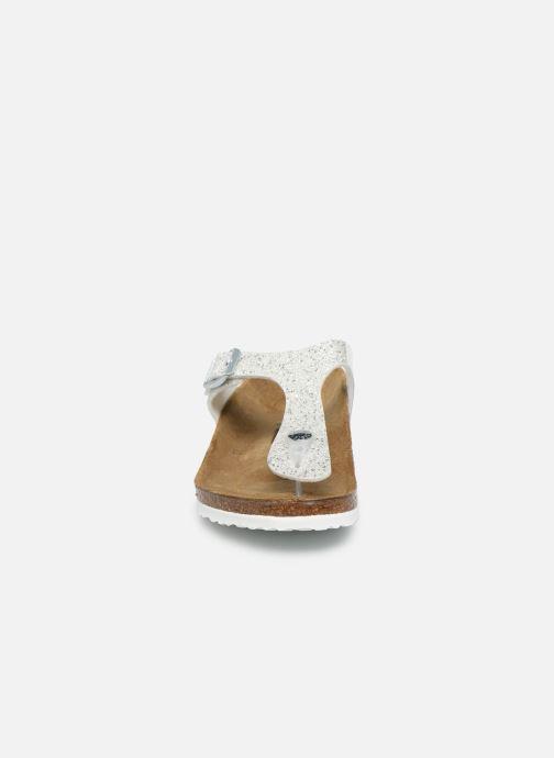Tongs Birkenstock Gizeh Birko Flor Argent vue portées chaussures