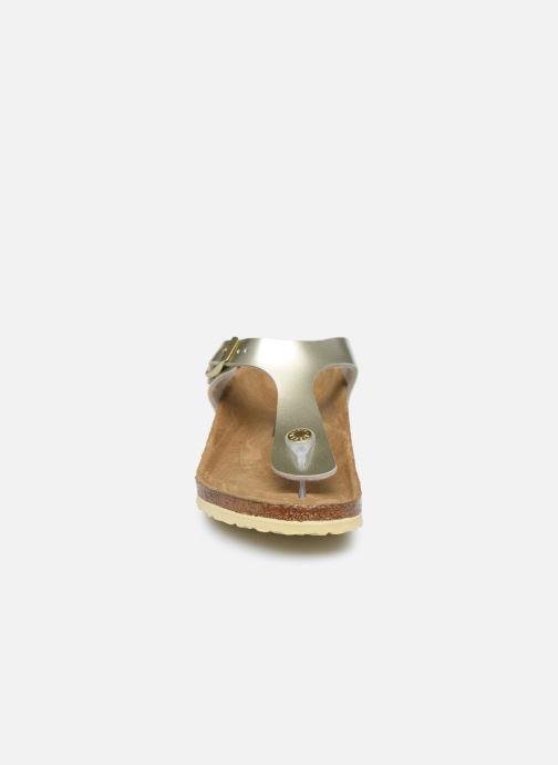 Tongs Birkenstock Gizeh Birko Flor Or et bronze vue portées chaussures