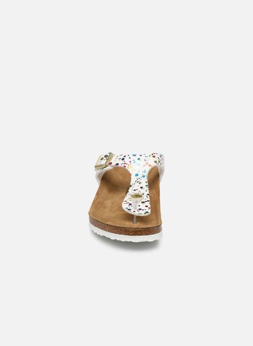 Tongs Birkenstock Gizeh Birko Flor Blanc vue portées chaussures