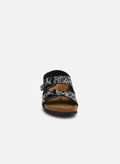 Sandalen Birkenstock Milano Birko Flor schwarz schuhe getragen