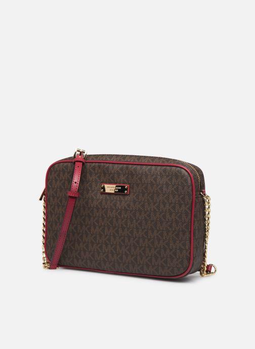 Bolsos de mano Michael Michael Kors JET SET TRAVEL LG EW CROSSBODY Rosa vista del modelo