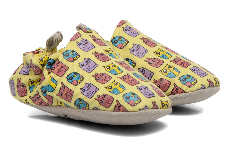Pantoffels Poco Nido ANIMAL CUBES Geel detail