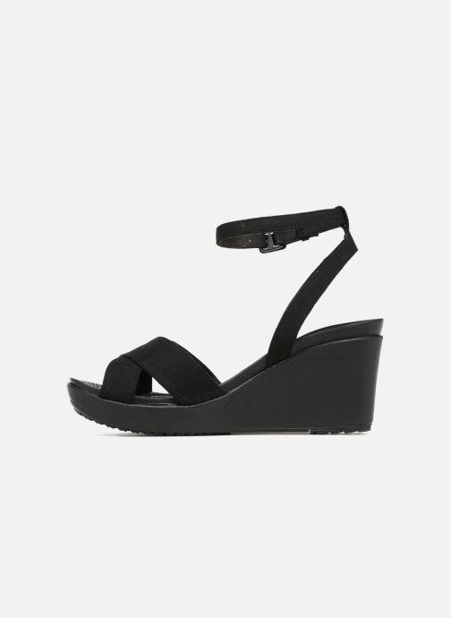 Sandalias Crocs Leigh II Ankle Strap Wedge Negro vista de frente