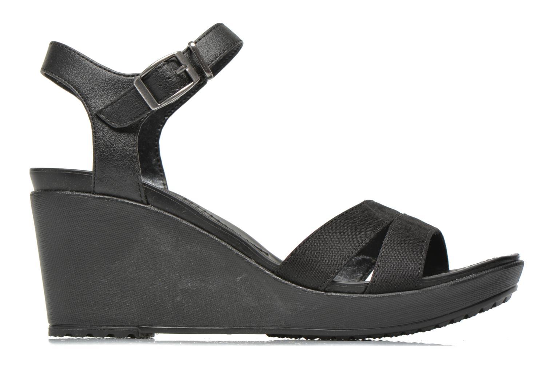 Sandales et nu-pieds Crocs Leigh II Ankle Strap Wedge Noir vue derrière