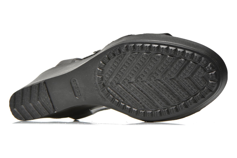 Sandales et nu-pieds Crocs Leigh II Ankle Strap Wedge Noir vue haut