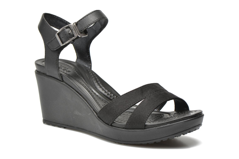 Sandales et nu-pieds Crocs Leigh II Ankle Strap Wedge Noir vue détail/paire