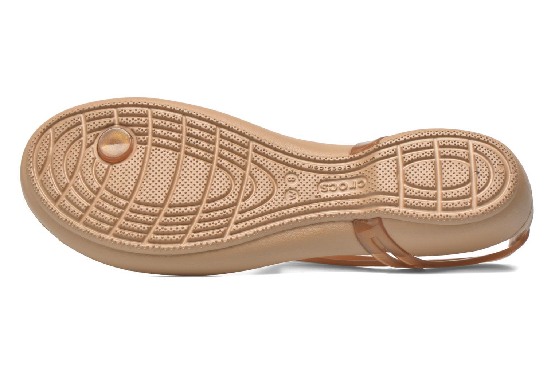 Sandales et nu-pieds Crocs Crocs Isabella T-strap Marron vue haut