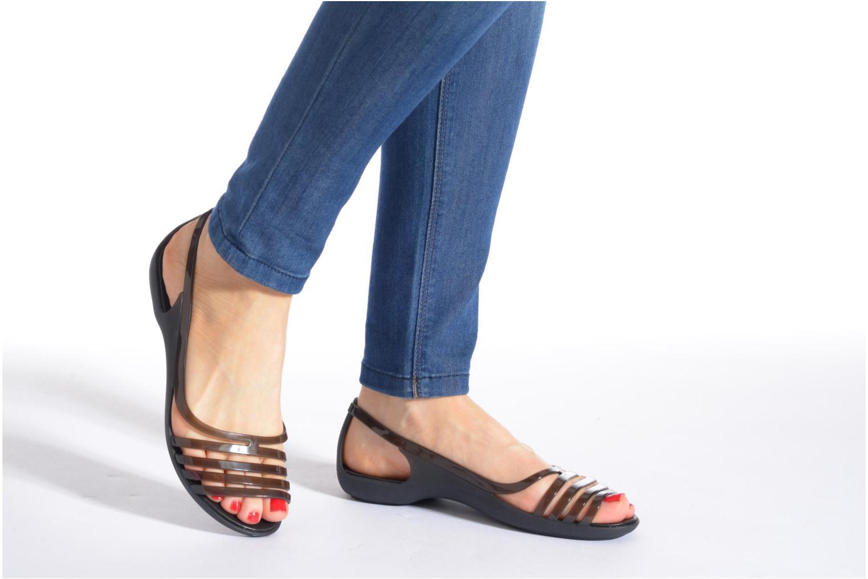 Sandales et nu-pieds Crocs Crocs Isabella Huarache Flat W Marron vue bas / vue portée sac