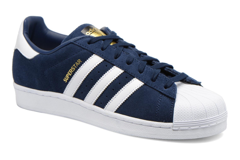 Baskets Adidas Originals Superstar Suede Bleu vue détail/paire