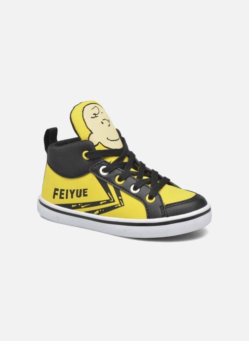 Baskets Feiyue Delta Mid Peanuts Jaune vue détail/paire