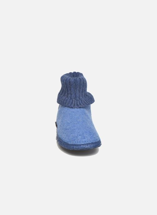 Pantofole Giesswein Kramsach2 Azzurro modello indossato