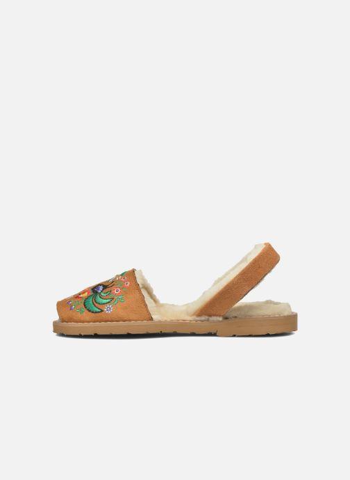 Sandales et nu-pieds MINORQUINES Avarca Broderie Marron vue face