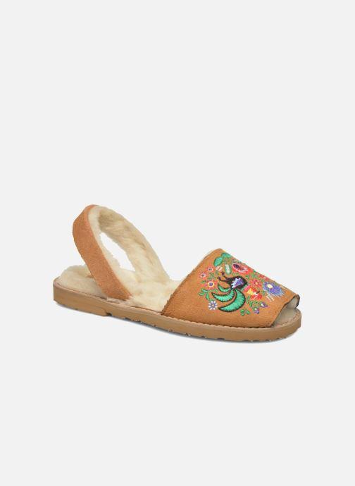 Sandales et nu-pieds MINORQUINES Avarca Broderie Marron vue détail/paire