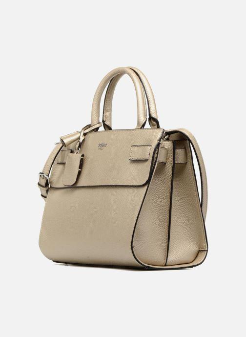 Handtaschen Guess Cate satchel gold/bronze schuhe getragen