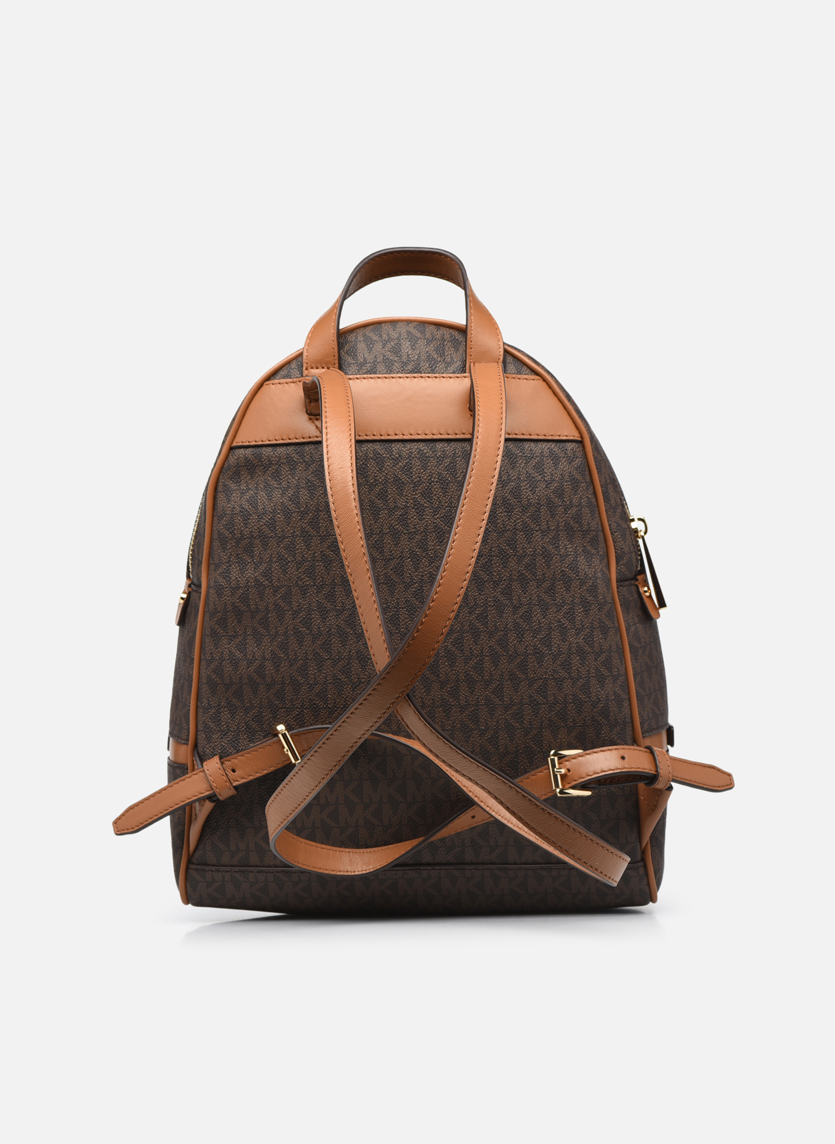 Sacs à dos Michael Michael Kors RHEA ZIP MD Backpack Marron vue face
