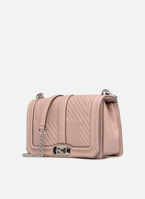 Sacs à main Rebecca Minkoff Geo quilted Love Crossbody Rose vue portées chaussures