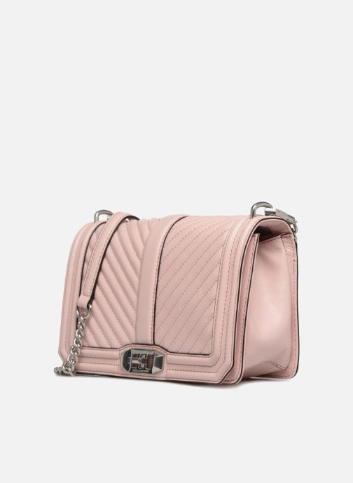Sacs à main Rebecca Minkoff Chevron Quilted Love Crossbody Rose vue portées chaussures