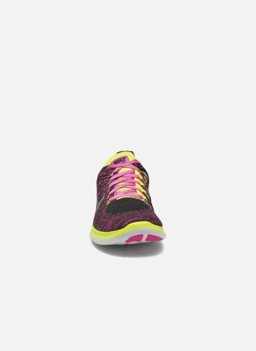 Baskets Nike Nike Free Rn Flyknit (Gs) Rose vue portées chaussures