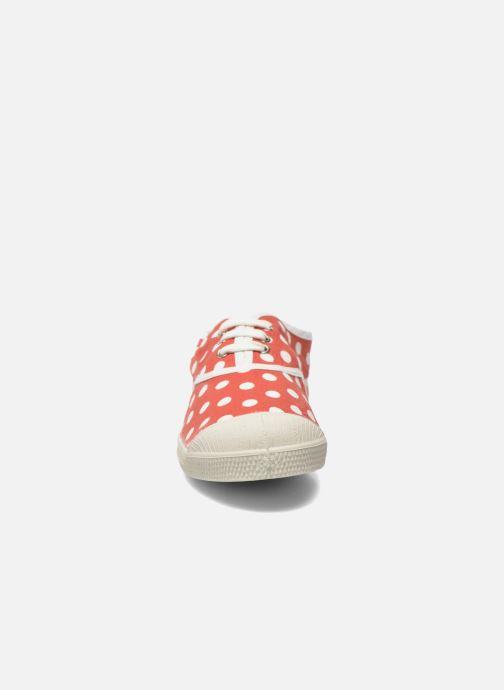 Baskets Bensimon Tennis Lacets Pois E Rouge vue portées chaussures