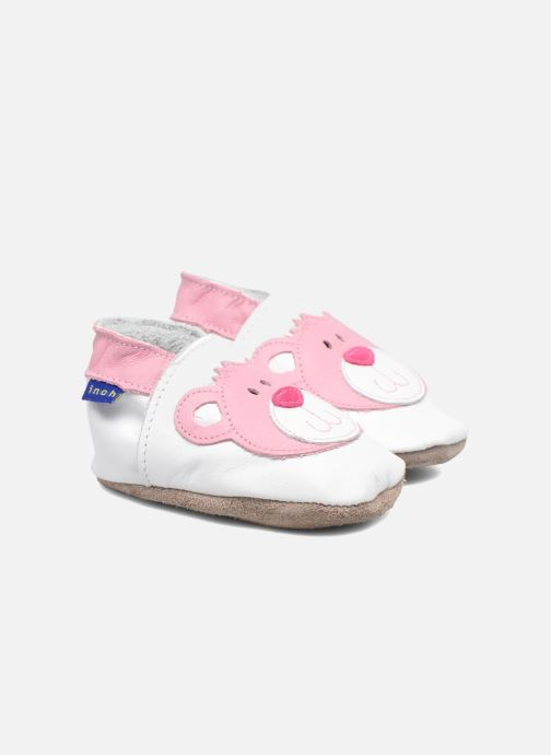 Slippers Inch Blue Teddy Pink White 3/4 view