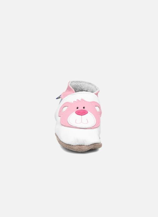 Slippers Inch Blue Teddy Pink White model view