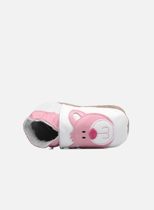 Slippers Inch Blue Teddy Pink White view from the left